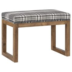 Plaid Bench with Wood Legs/Ottomans & Benches/Living Room/Furniture Bouclair.com
