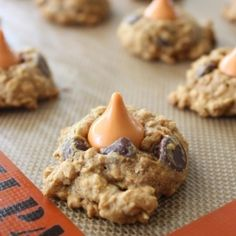 Pumpkin Spice Hershey Kiss Oatmeal Cookies.  Delightfully cake-like texture cookie screams fall.  Perfection in a compact treat.
