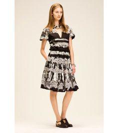 Bottega Veneta - Paint-effect lace-trimmed cotton dress