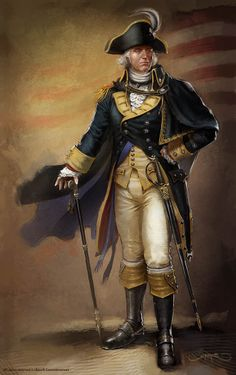 A George Washington-looking character designed by Remko Troost for the game Assassin's Creed III.