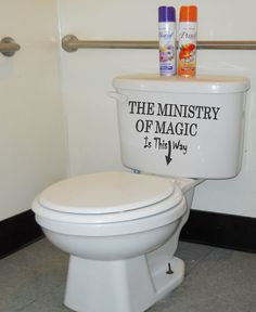 hahahahahahha      Harry Potter Ministry of Magic Bathroom Quote Vinyl Decal Sticker deathly hallow   Quotes Vinyl Removable Letters Quote Art  (B8). $12.99, via Etsy.