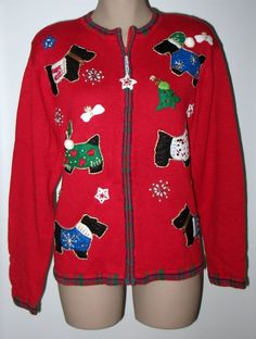 Heirloom Collectibles Holiday Scotty Dog Sweater Jacket L - Beaded NWT Red  #HEIRLOOMCOLLECTIBLES #SweaterJacketCardigan