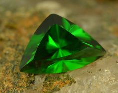 Chrome Tourmaline, Fancy Trillion Cut, VVS, 2.73ct. One of a kind gemstone cut by Ian Coombe, Cutter of the Lewis Sapphire