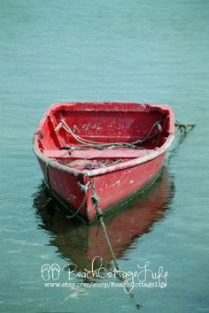 Nantucket+Harbor+Red+Wooden+Dinghy+by+BeachCottageLife+on+Etsy,+$39.00