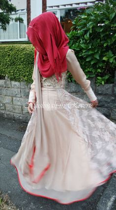 hijab long pastel dress red white cream