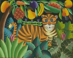 Jungle paintings by Haitian Pierre Maxo