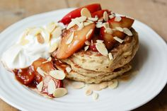 london bakes | fluffy buckwheat pancakes with caramelised ginger peaches {gluten free}