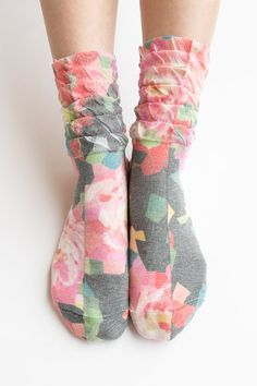Women Lady New Hezwagarcia High Quality Japanese Flower Print Cotton Ruffle Frill Elegant Classic Printing Ankle Socks Black
