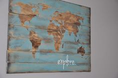 "Travel and Adventure Baby Boy Nursery - Project Nursery - Rustic ""Explore"" Map Wall Decor – perfect in a travel-themed nursery! Bedroom Themes, Nursery Themes, Kids Bedroom, Themed Nursery, Nursery Ideas, Bedroom Decor, Bedroom Modern, Playroom Ideas, Bedroom Designs"