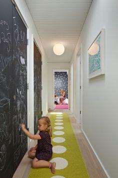 Splashy hallway runners in Kids Midcentury with Chalkboard Wall Ideas next to Chalkboard Paint alongside Flat Trim and Long Hallway