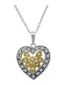 "Diamond Heart.25CTW - 14k Gold/.925 Sterling Silver Vermeil Pendant & 18"" .925 Chain + FREE Shipping"