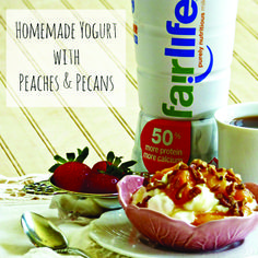 Got Fairlife purely nutritious milk and a yogurt maker at home? Then it's time for a delicious high protein homemade yogurt! Top with local honey, fresh peaches & pecans. Enjoy!