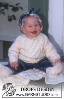 DROPS BABY / 6 / 2 Little Pernille by DROPS Design Sweater with cables and blanket in Karisma Superwash. Socks in Baby-Ull. Baby Knitting Patterns, Knitting For Kids, Baby Patterns, Free Knitting, Jumper Patterns, Drops Design, Drops Baby, Pull Bebe, Baby Sweaters