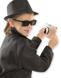 "Specifications: - Spy dress-up outfit and accessories - Includes black spy jacket, hat, rear-view mirrored sunglasses, secret coded message card, decoder lens, spy guide - High quality fabrics and construction - Ideal for creative, imaginative role play - Ages 5-8; 17"" x 30"" pkg Order yours Today! Shipping We ship our products with a unique tracking number, which will be emailed to you as soon as your order is shipped out from our warehouse. Your order will be fulfilled within 12 hours and will"