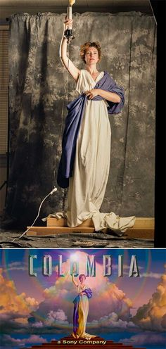 Jenny Joseph modeling for the Columbia Pictures logo, 1991. Read the story about the photo here. Photo by Kathy Anderson