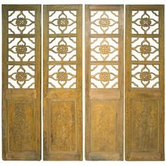Antique Chinese Painted Four Panel Screen or Doors, Four Lucky Keys, circa 1916 Antique Furniture, Modern Furniture, Fashion Art, Vintage Fashion, Painted Doors, Architectural Salvage, Keys, Most Beautiful, Fine Jewelry