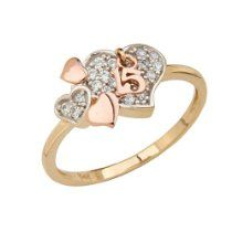 14K Two Tone Yellow and Rose Gold High Polish Pave-Set CZ 15 Anos Quinceanera Multiple Hearts Design Ladies Ring Band