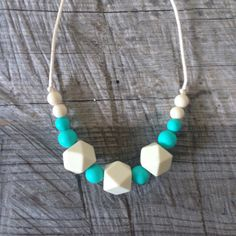 Teal and Cream Silicone Teething Necklace for by NomNomNecklaces