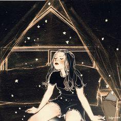 (내 방 속 작은 플라네타륨 - 2/3) 밤의 어둠이 까맣게 칠한 나의 방 Anime Gifs, Anime Art, Aesthetic Gif, Korean Aesthetic, Korean Art, Arte Pop, Art Plastique, Cute Art, Digital Illustration