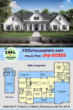 Country Farmhouse Plan has 3086 Sq Ft, 4 Beds, Baths and a Huge Bonus Room and Deck – farmhouse plans Floor Plan 4 Bedroom, 4 Bedroom House Plans, Family House Plans, Ranch House Plans, New House Plans, Country House Plans, Dream House Plans, House Design Plans, Ranch Style Floor Plans