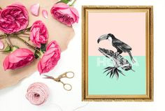 Pastel Pink Blue Toucan Bird Tropical Holla A4 by WhimMagazine