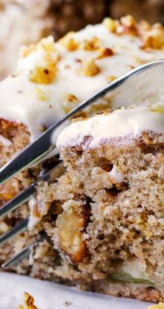 Super Moist Maple Apple Spice Cake ~ Infused with sweet maple, bursting with spices, walnuts (optional) and smothered in silky cream cheese frosting... Everyone loves this cake!