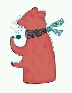 bear having a tea