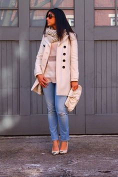 Cute Outfit of the Day: Patrizia Chiarenzas Pastels ~ French Connection coat, H sweater, Gap jeans, Urban Outfitters neck warmer, Prada sunglasses, Anne Klein pumps