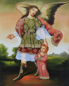 "Guardian Angel & Child Cuzco School Oil Painting On Canvas 10""H x 8""W (30-100-07107) - Alpaca Warehouse"