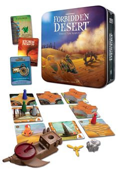 FORBIDDEN DESERT has arrived! This sequel to the smash hit Forbidden Island is a brand new cooperative game for 2-5 players. Race to assemble your flying ship and escape the constantly-shifting desert before your water runs out! Soooo very highly recommended. We have tons!