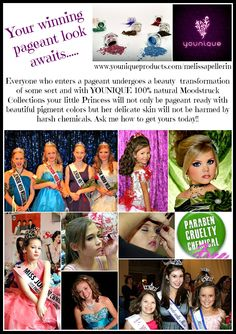 #YOUNIQUE 100% natural, chemical-free, mineral-based pigment powders, free of talc, oils, preservatives, perfumes, synthetic dyes, and parabens. Perfect combination for delicate #pageant skin.The High-quality pigments consist of finely crushed minerals that bond to the skin offering long-lasting, sweat-proof coverage. Apply wet for a more dramatic impact of color, or apply dry for a blending of colors or for a softer look.. Click to see all of the awesome colors available