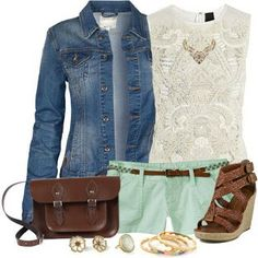 #casual #summer #fshorts #jeans #wedgesandals