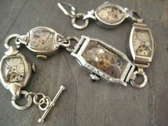 Antique Art Deco Vintage Watch Gemstone Locket Bracelet Altered Art | eBay