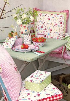 Shabby Chic corner.  This would be darling for the screened-in porch!
