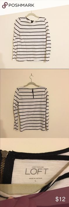 Loft Striped Top Long sleeve, striped top with a small, accent zipper on the back. Gently used, in great condition. Perfect top for any occasion! LOFT Tops Tees - Long Sleeve