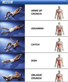 Core exercises: arms up crunch, aquaman (superman), catch, dish, oblique crunch