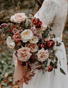 c70d0c5518b2a blush and red garden rose bouquet Vintage Bridal Bouquet, Boho Wedding  Bouquet, Blush Fall