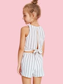 To find out about the Girls Slit Knot Back Stripe Shell Top & Shorts Set at SHEIN, part of our latest Girls Two-piece Outfits ready to shop online today! Cute Girl Outfits, Kids Outfits Girls, Fall Outfits, Summer Outfits, Girls Dresses, Kids Girls, Girls Fashion Clothes, Girl Fashion, Fashion Outfits