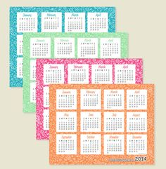 Creative Mamma || Free Printable || 2014 One-Page Calendars || Four Colors