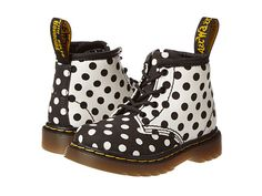 Dr. Martens Kid's Collection Brooklee B 4-Eye Lace Boot (Toddler) Black+White/White+Black Dots Fine Canvas - 6pm.com
