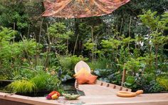 Love the canopy above this garden and the relaxing feeling it evokes. Designed by Sarah Eberle for RHS Chelsea Flower Show 2016 Chelsea Flower Show, Chelsea 2016, Espace Design, Floating Garden, Famous Gardens, Design Blog, Garden Structures, Garden Inspiration, Garden Ideas