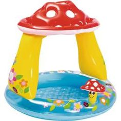 Bayby Kids Pool, Intex Mushroom, x for Ages It features a fun, mushroom-style sunshade and matching inflatable mushroom buddy that will get everyone excited to splash around. Baby's own pool with built-in mushroom sunshade. Bath Toys For Toddlers, Kids Toys, Inflatable Baby Pool, Pool Piscina, Pool Canopy, Sports Games For Kids, Jurassic, Soft Flooring, Mushrooms