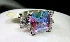 Silver Tone Aurora Borealis Crystal Ring Large by baublesNsilver www.baublesnsilver.etsy.com