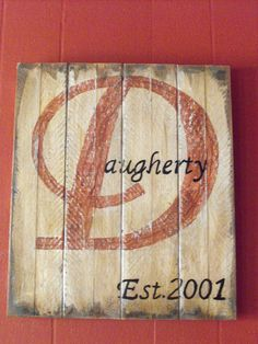 "Last Name Initial: A 16"" x 14 "" acrylic, distressed, primitive painting on wood. $25.00, via Etsy."