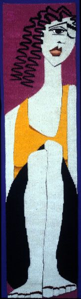 """Susan Martin Maffei, """"Anne Frank"""", 42 x inches Weaving Projects, Weaving Art, Tapestry Weaving, Hand Weaving, Contemporary Tapestries, Floor Art, Fabric Manipulation, Life Drawing, Rug Hooking"""