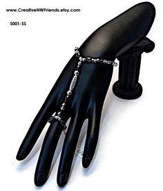 Boho-chic Silver Slave Hand Bracelet in our Etsy shop https://www.etsy.com/listing/269909472/silver-slave-bracelet-silver-hand