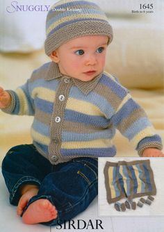 Sirdar Double Knitting Cardigan, Blanket, Hat, Mittens and Booties Sirdar Knitting Patterns, Baby Sweater Knitting Pattern, Knitted Baby Cardigan, Knit Baby Sweaters, Knitted Baby Clothes, Knitted Baby Blankets, Cardigan Pattern, Baby Knits, Knitting For Kids