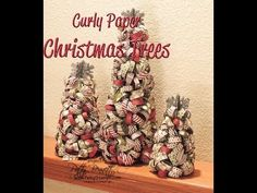 How to Make Curly Paper Christmas Trees with Stampin Up DSP. - Learn how to use Stampin Up! products to create these cute Curly Paper Christmas trees from Styrofoam cones and Season of Style DSP. Stampin Up! video tutorial by Patty Bennett. Christmas Tree Decorations, Christmas Trees, Christmas Ornaments, Xmas, Christmas Projects, Holiday Crafts, Christmas Lodge, Art And Craft Videos, Stampin Up Christmas