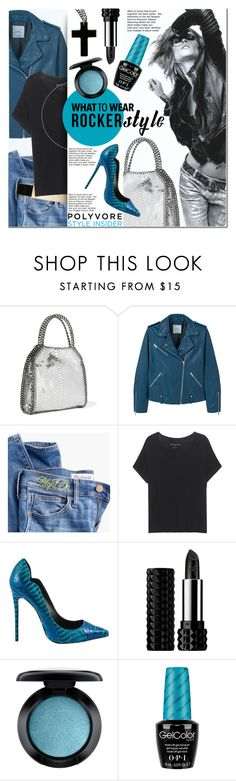 """""""Rocker Chic"""" by anna-anica ❤ liked on Polyvore featuring STELLA McCARTNEY, MANGO, Madewell, True Religion, Lust For Life, Kat Von D, MAC Cosmetics, OPI, rockerchic and rockerstyle"""