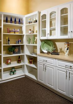 combo of cupboards and open shelving love this but with full cabinet door and glass window combination